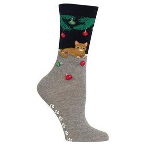 Hot Sox Women's Christmas Cat Non Skid Socks